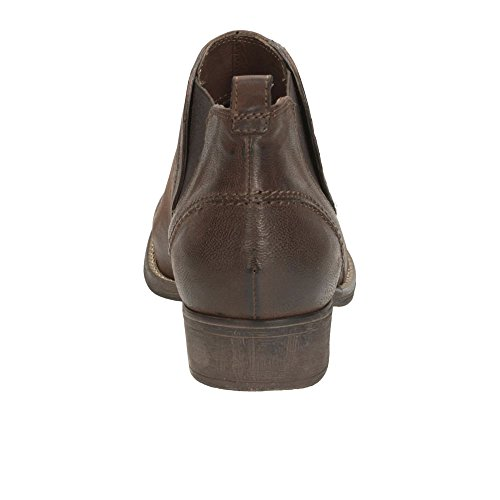 Clarks Colindale Oak Women's Casual Boots in Black Leather and Dark Tan Foncé Ocre