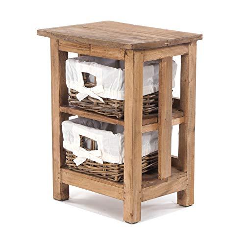 DESIGN DELIGHTS Holz BADSCHRÄNKCHEN MIT 2 Rattan KÖRBEN   beige, Recyclingholz Mahagoni, 51x38x29 cm (HxBxT)   Kommode