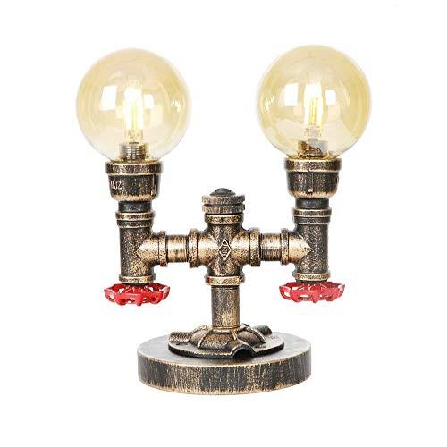 LYDB 2 Lichter industrielle Tischleuchte - Retro Steam Punk Tischlampen mit Braunglasschirm - kreative Wasserpfeife Schreibtischleuchten für Schlafzimmer, Bar, Restaurant