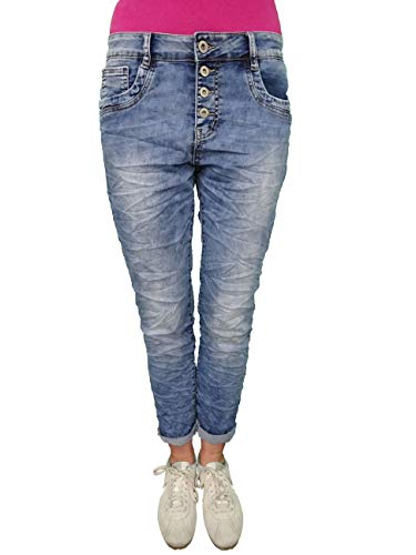 Karostar by Lexxury Denim Stretch Baggy-Boyfriend-Jeans Boyfriend 4 Knöpfe offene Knopfleiste weitere Farben (3XL-46, Mid Blue Jogg)