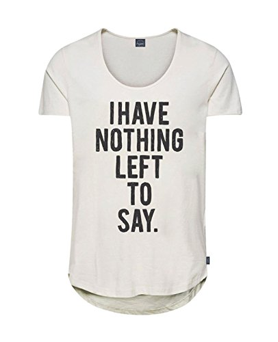 JACK & JONES Herren T-Shirt jorTYPE 3 Tee Schwarz Weiß Spruch Slim Fit Weiß (Cloud Dancer Fit:SLIM - NOTHING PRINT)