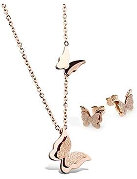 Jewow Schmuck Edelstahl Damen Schmetterling Anhänger Halskette und Ohrstecker Ohrringe Schmuck Set