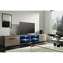 Tenus Double - Meuble TV/Banc TV (200 cm, Effet chêne avec éclairage LED)