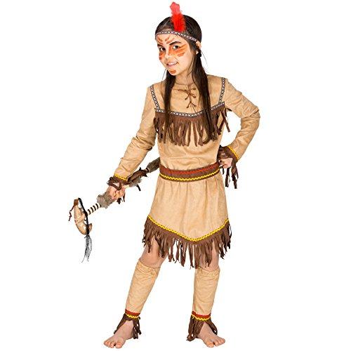 Kostüm Mädchen Sexy Land - TecTake dressforfun Mädchenkostüm Indianerin flinker Otter | Wundervolles Kleid in Velourslederoptik | inkl. Gürtel, Haarband und 2 Beinstulpen (10-12 Jahre | Nr. 300658)