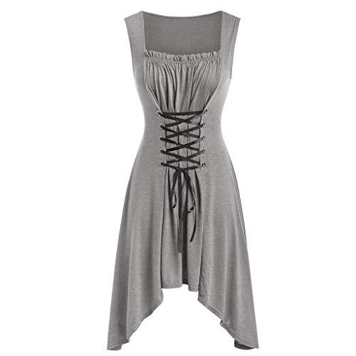 Produp Damen Beiläufiges asymmetrisches schnüren Sich Oben Midi Kleid Sleeveless rundes Ansatz-Falten-Kleid - Sleeve Ballet Neck-shirt