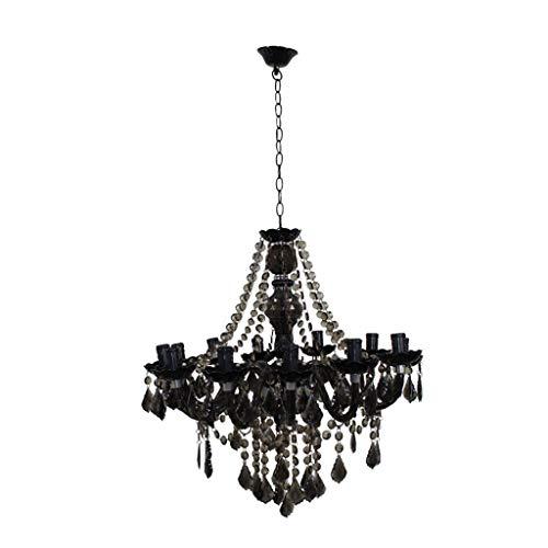 Oudan Die Schlafzimmer Lounge Kronleuchter schwarz Plexiglas einfache Kerzenlicht Restaurant Retro geschmiedet E14 Kronleuchter Deckenleuchte (Farbe : -, Größe : -) -