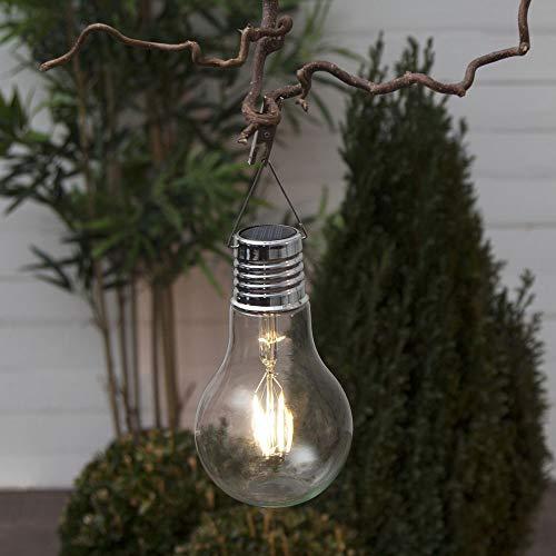 LED Solarleuchte Glühbirnen-Form mit Klammer zum aufhängen Gartenbeleuchtung kabellos Gartenlicht Terasse Balkon Außenleuchte Party-Beleuchtung Laterne Transparent Solarlampe modern Außenbeleuchtung