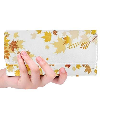 Einzigartige benutzerdefinierte Herbst Blätter Grenze Frauen Trifold Brieftasche Lange Geldbörse Kreditkarteninhaber Fall Handtasche