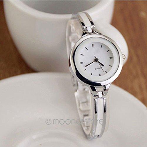 GEZICHTA Vintage Elegant Prinzessin Frauen Damen Studenten Armband rund Fall Armbanduhr Quarz OL Armbanduhr Mädchen Analog Armreif Hand Kette, weiß