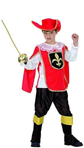 Costume Moschettiere rosso bambino 4/6 anni (104/116)