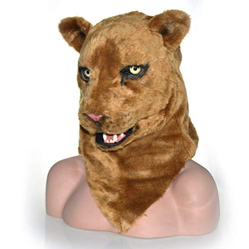 ZUAN Löwenkopfmaske Halloween-Fell-Simba-Kopfbedeckung für Kostüm Braune Löwemaske Einzigartiges Produkt Braune Löwin, die Mundmaske verblüfft (Color : Brown, Size : 25 * 25)