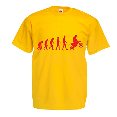 N4518 Männer T-Shirt Evolution motorcyclist! (X-Large Gelb Rote)
