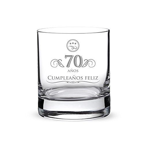 AMAVEL – Vaso de Whisky con Grabado por el 70 Cumpleaños – Elegante – 70 Cumpleaños – Regalos para Hombres – Detalles para Novios – Articulos de Decoración – Capacidad: 320 ml