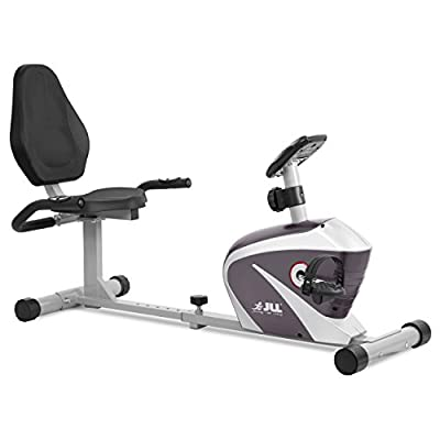 JLL RE100 Recumbent Home Exercise Bike. 5kg two way flywheel with 8 levels of magnetic resistance. 6 - Levels of seat adjustment, Monitor displays speed, distance, time, calories and pulse. 12- months warranty. by JLL