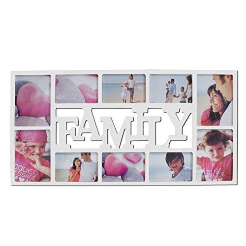 Smartfox Bilderrahmen Fotorahmen Collage für 10 Bilder im Format 6 Fotos 10x15 cm und 4 Fotos 13x18 cm in Weiß Motiv: Family