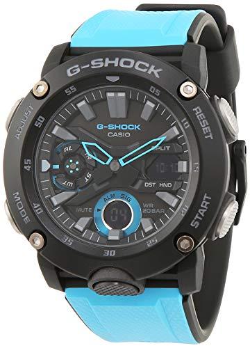 Casio G-Shock Analog-Digital Herrenarmbanduhr GA-2000 blau schwarz, Carbon, 20 BAR (Casio Uhr Blau Shock G)