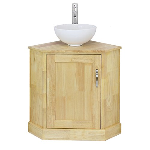 Blupp Bathroom Corner Vanity Unit & Round Ceramic Sink, Single Solid Oak Cabinet & Wash Basin, Inc. Tap & Plug