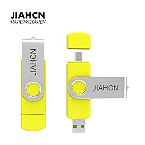 JIAHCN XC60 Android Flash Drive [On the Go] 2 in 1 USB Memory Stick Storage Device Hard Disk 16GB 32GB Available for Android Smart Phone or Device Support OTG (Yellow-32GB)
