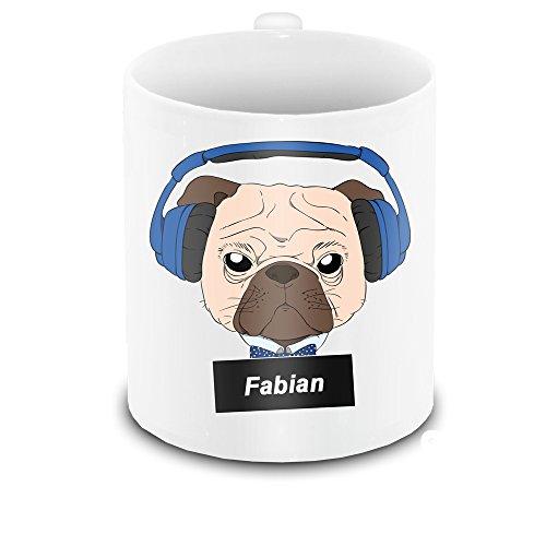 Tasse mit Namen Fabian und schönem Motiv - Mops mit Kopfhörer – für Hundefreunde | Hunde-Tasse | Lustige Tasse mit Tier-Motiv