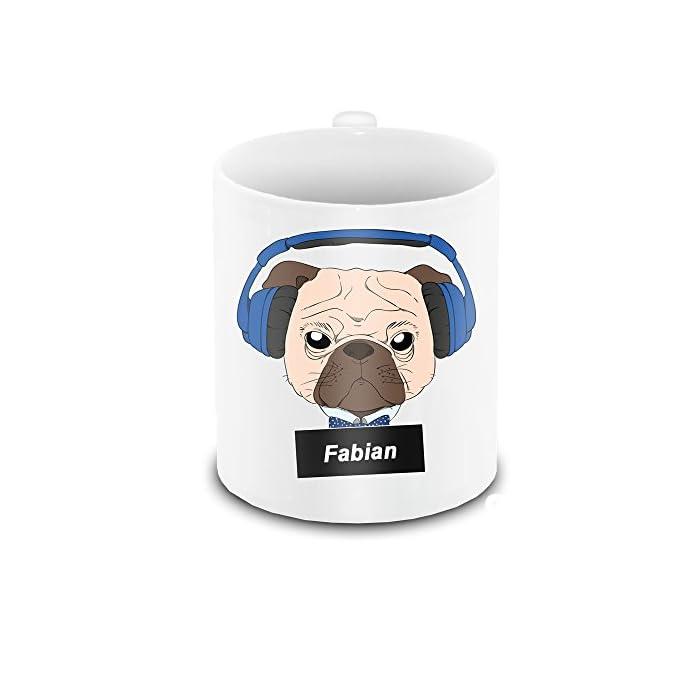 Tasse mit Namen Fabian und schönem Motiv - Mops mit Kopfhörer – für Hundefreunde   Hunde-Tasse   Lustige Tasse mit Tier…