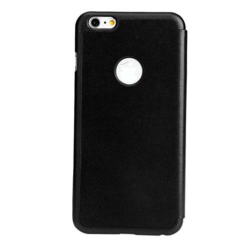 For iPhone 6 Plus / 6S Plus Hülle, Ouneed Intelligente Schiebe magnetischen Flip-Lederabdeckungsfall Hülle Case Cover für iPhone 6 Plus/6S Plus(5,5 Zoll) (Gold) Schwarz