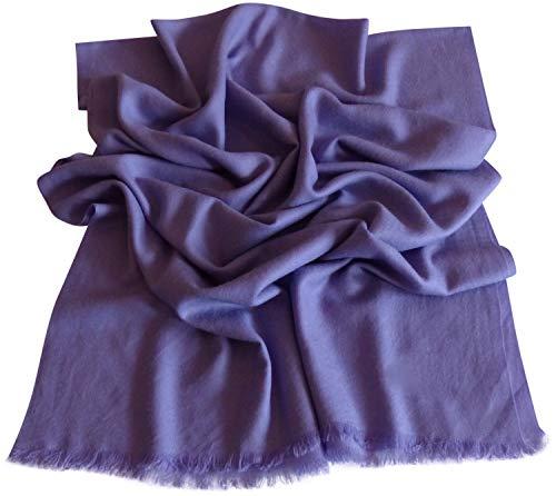 CJ Apparel Einfarbiger Schal aus 100% Wolle, 2-lagig Gr. Einheitsgröße, Purple Wool -