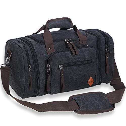 (VENTCY Canvas Reisetasche Groß Herren Damen Weekender Tasche Sporttasche Frauen Männer Gym Duffle Bag Handgepäck Tasche 40L für Outdoor Urlaub Business Schwarz)