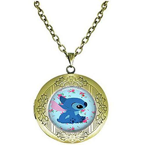 bab Halskette mit Medaillon-Anhänger Stitch & Blumen Hintergrund
