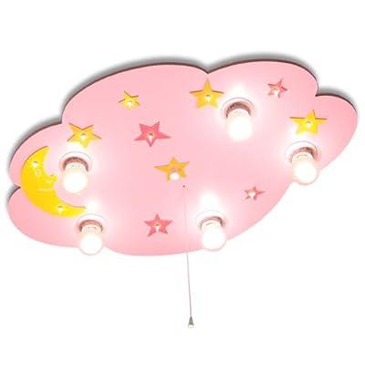 Kinderlampe Deckenlampe in Wolkenform Mond mit Sternchen mit Nachtlicht (Rosa) Kinderzimmerlampe Deckenleuchte Babyleuchte von KIDSLICHT bei Lampenhans.de