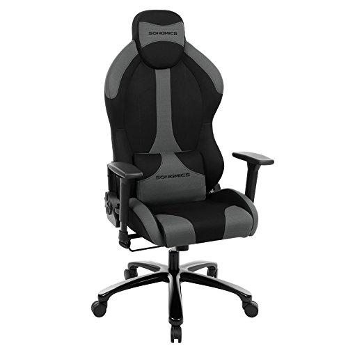 SONGMICS Ergonomischer Gaming Stuhl mit hoher Rückenlehne Verstellbarer Bürostuhl mit Kopfstütze Lendenstütze und 3D Armlehnen RCG16BK - Hohe Rückenlehne Ergonomischer Stuhl