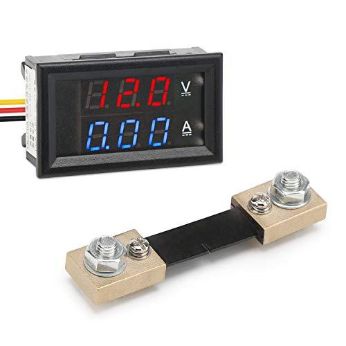 Multimeter Voltmeter Amperemeter, Droking DC 12V/24V 100A Car Voltmeter Ampere Meter Volt Amp Detector Ampere Voltage Gauge, Strommesser Stromspannung Prüfer for Autobatterie Auto Car (+ Shunt) (Ampere-meter)