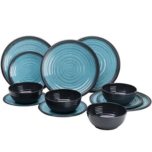 Melamin Geschirrset 12 Teile Teller und Schüsseln blau - Campinggeschirr Geschirr 4 Personen Picknick Camping