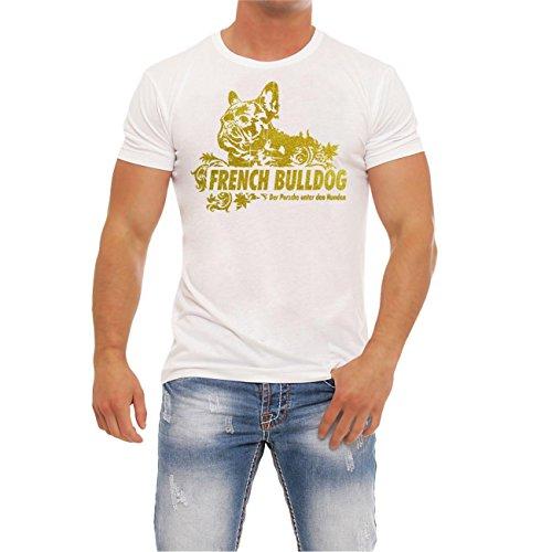 Männer und Herren T-Shirt French Bulldog GOLD (mit Rückendruck) Weiß