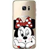 S7 Edge TPU Funda Gel Transparente Carcasa Case Bumper de Impactos y Anti-Arañazos Espalda Cover, Glitter Special Colección Collection, Disney Minnie Mouse, Galaxy S7 Edge
