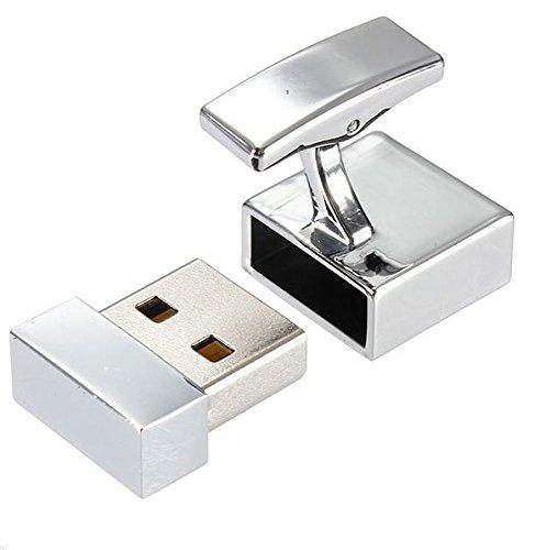 Funktionieren 8GB USB Flashdrive Speicherstick Neuheit Manschettenknöpfe Silber Ton