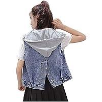 Ladyful - Chaleco de mezclilla sin mangas con capucha desmontable para mujer