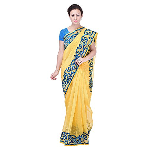Luvit Women's Aari Work Pure Banarasi Cotton Supernet Saree With Blouse (Yellow)