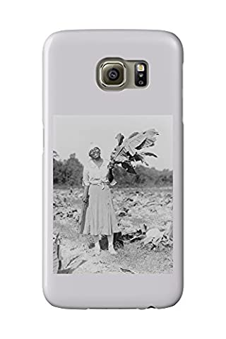 Black Woman Holding Tobacco Leaf Photograph (Galaxy S6 Cell Phone Case, Slim Barely There)