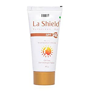 Glenmark La Shield Sunscreen Gel SPF 40, PA+++,Broad-Spectrum UVA/UVB Oil Free and Dermatologist Tested, 60gms