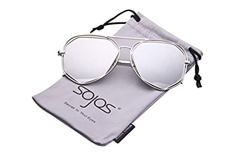 SojoS Fashion Metal Frame Flat Mirrored Lens Sunglasses With Silver Frame/Mirror Lens
