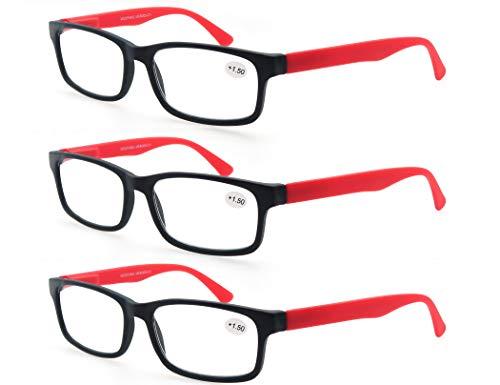 MODFANS (3 Pack) Lesebrille 1.5 Herren/Damen,Gute Brillen,Hochwertig,Rechteckige,Komfortabel,Super Lesehilfe,fur Manner und Frauen,(3 Rot)