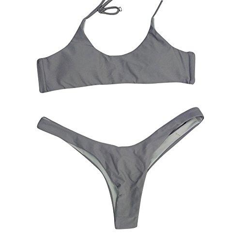 POIUDE Damen Bikini Sets Größe Bandage Bikini Push up Oberteil Bikinihose Bademode Badeanzüge(Grau, Medium)