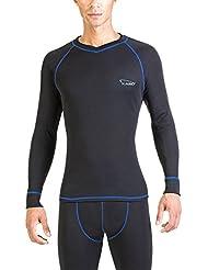 Xaed Camiseta Termica Interior Hombre, Camiseta Interior, Ski, Hombre, Negro/Azul, L