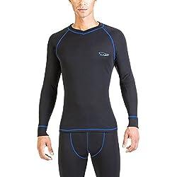XAED - Camiseta térmica de manga larga para hombre (mediana, negro/azul)