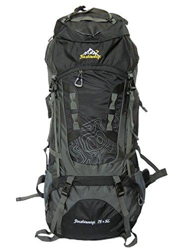 80l Wasserdichter Leichter Wanderrucksack Trekkingrucksack Reiserucksack Backpackerrucksack 70l + 10l = 80 Liter mit 1,8 kg Eigengewicht - für Damen und Herren zum Wandern geeignet (Schwarz)