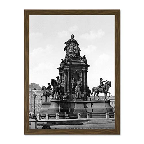 Doppelganger33 LTD Maria Theresa Monument Vienna Austro Hungary. Old BW Photo Picture Large Framed Art Print Poster Wall Decor 18x24 inch Supplied Ready to Hang