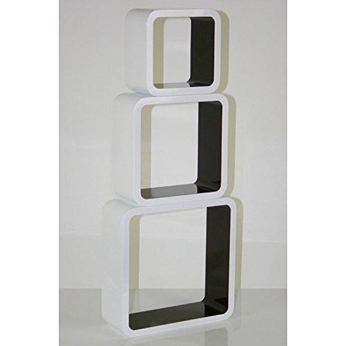 3 étagères cubes murales en MDF blanc-marron rangement ETA06060