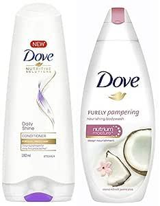 Dove Daily Shine Conditioner, 180ml & Dove Coconut Milk and Jas Petals Body Wash, 190ml