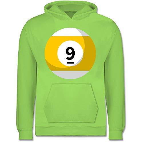 Shirtracer Karneval & Fasching Kinder - Billardkugel 9 Kostüm - 9-11 Jahre (140) - Limonengrün - JH001K - Kinder Hoodie