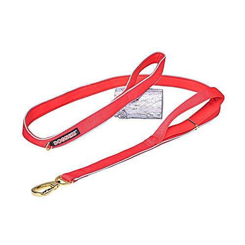 Aolvo Hundeleine, robust, reflektierend, 2-Griff-leash-soft Traffic, Griff Nylon Leine, für Training, Laufen oder Wandern, rot, M (Doppel-griff Hundeleine)